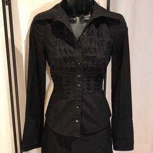 Bebe black button down dress shirt blouse top XS